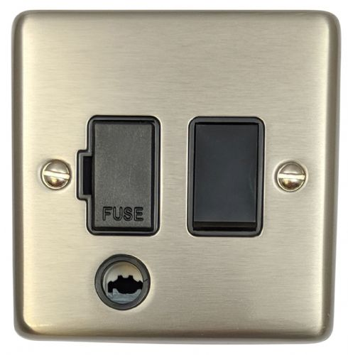 G&H CSS56B Standard Plate Brushed Steel 1 Gang Fused Spur 13A Switched & Flex Outlet